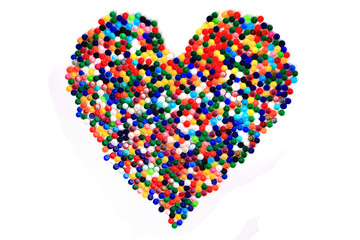 heart from color plastic caps