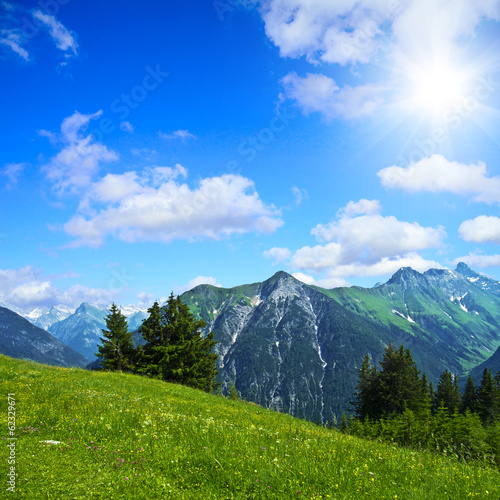 canvas print picture Alpenpanorama im Sommer