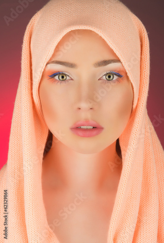 young girl in shawl