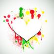 Paper heart on paint splattered background. Valentine