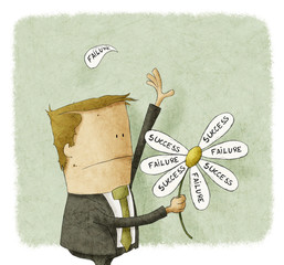 Businessman pull the failure and success petals off a daisy