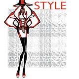 Fashionable woman in tartan background.Fashion Illustration