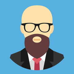 Vector Bald Man with Beard and Glasses Icon
