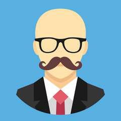 Vector Bald Man with Mustache in Business Suit Icon