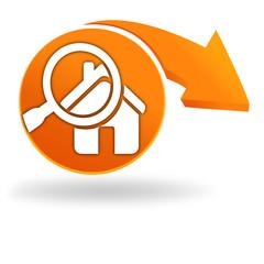 recherche maison sur bouton orange