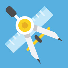 Vector Drawing Compass and Ruler Icon