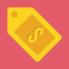 Vector Gold Tag and Dollar Sign Icon