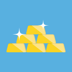 Vector Golden Bars Pyramid Icon