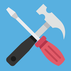 Vector Hammer and Screwdriver Icon