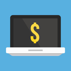 Vector Laptop and Dollar Sign Icon