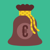 Vector Money Bag with Euro Sign Icon