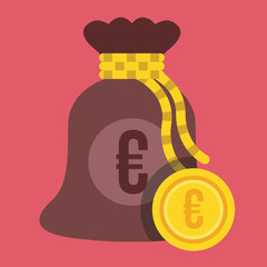Vector Money Bag and Euro Gold Coin Icon