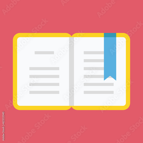 Vector Opened Book with Bookmark Icon