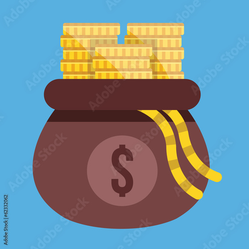 Vector Opened Money Bag Full of Gold Coin Stacks Icon
