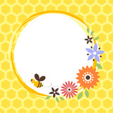 floral card with bee