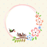 floral card with birds