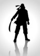 Silhouette illustration of a man holding a sabre