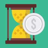 Vector Time is Money Concept Icon