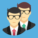 Vector Two Men Icon Teamwork Concept