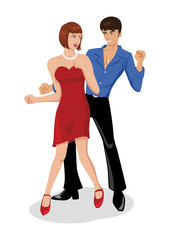 Illustration of a couples are dancing