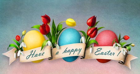 Three Easter eggs with flowers.