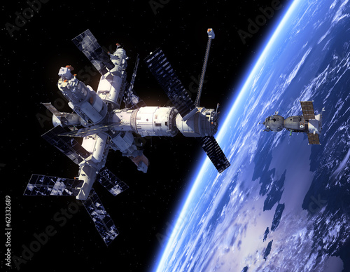 "Leinwanddruck Bild Spacecraft  ""Soyuz"" And Space Station"