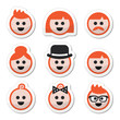 People with ginger vector hair icons set
