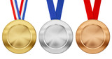 gold, silver, bronze medal set with different ribbons isolated o