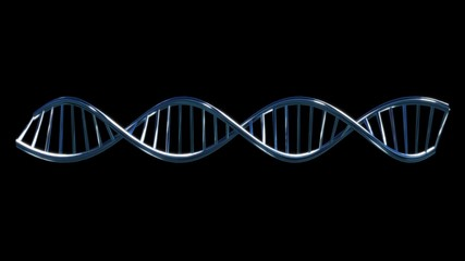 turquoise blue DNA molecular string moving black background