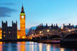 London, the UK. Big Ben and the River Thames at the evening
