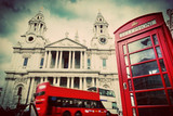 St Paul's Cathedral, red bus, phone booth.London, UK. Vintage