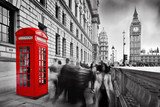 Red telephone booth and Big Ben in London, England, the UK.