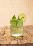 soft drink decorated with mint and lime