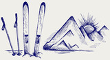 Fototapety Mountains and ski equipments. Doodle style