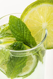 soft drink decorated with lime and mint