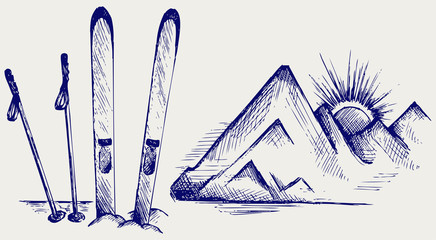Mountains and ski equipments. Doodle style