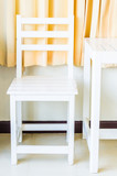 White wood table and chair