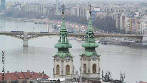 Margaret Bridge and St.Anna Church in Budapest