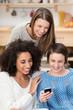 freundinnen schauen gemeinsam auf smartphone