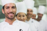 Happy team of chefs standing in line