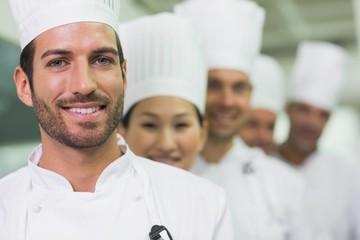 Happy team of chefs standing in line