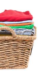 Wicker basket of clean fresh laundry