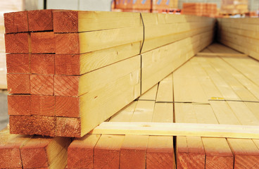 Stack of constructions timber for sale