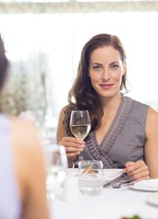 Beautiful smiling woman with wine glass at meal table