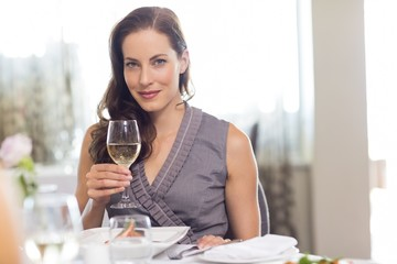 Beautiful smiling woman with wine glass