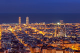 Fototapety Barcelona skyline panorama at night