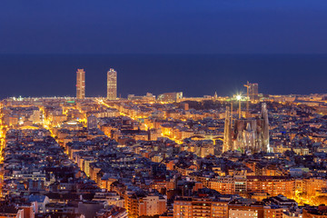 Barcelona skyline panorama at night