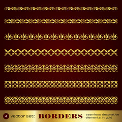 Borders seamless decorative elements in gold set 4