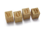 wood word on wood cubes