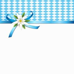 Blaue Schleife mit Edelweiß und Rautenmuster